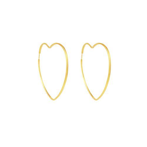 Brinco em Ouro 18K Argola Coração - AU5348 - Brinco em Ouro 18K Argola Coração - AU5348