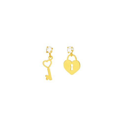 Brinco em Ouro 18K Cadeado e Chave - AU5914