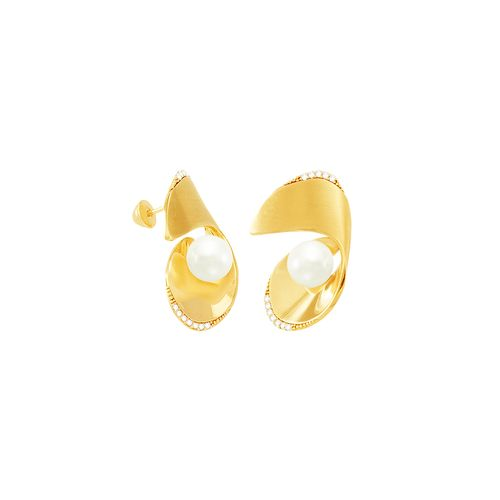 Brinco em Ouro 18K com Diamantes e Pérola - AU4639