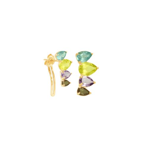 Brinco em Ouro 18K com Pedras Brasileiras - AU6289