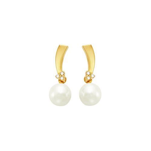 Brinco em Ouro 18K com Pérola e Diamantes - AU2464