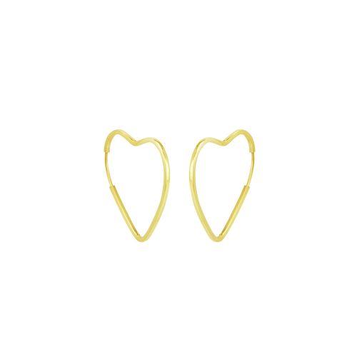 Brinco em Ouro 18K Coração Argola - AU5273