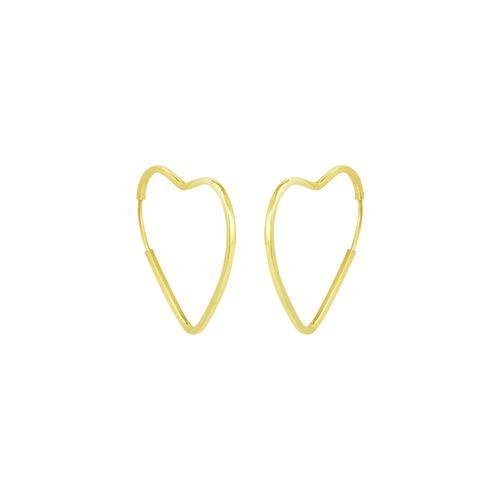 Brinco em Ouro 18K Coração Argola - AU5274