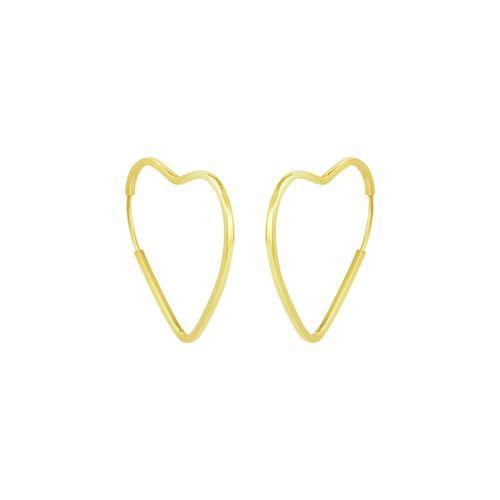 Brinco em Ouro 18K Coração Argola - AU5275