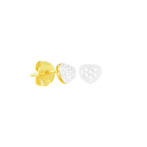 Brinco em Ouro 18K Coração com Diamantes - AU5587
