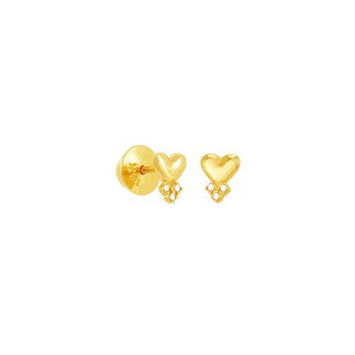 Brinco em Ouro 18K Coração e Diamantes - AU5069