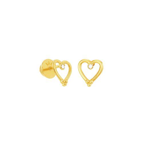 Brinco em Ouro 18K Coração e Diamantes - AU5081