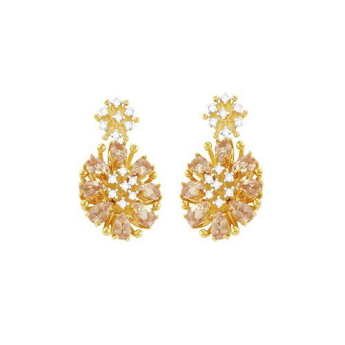 Brinco em Ouro 18K Morganita e Diamantes - AU3755