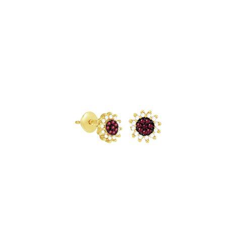 Brinco em Ouro 18K Pavê com Rubi e Diamantes - AU3820