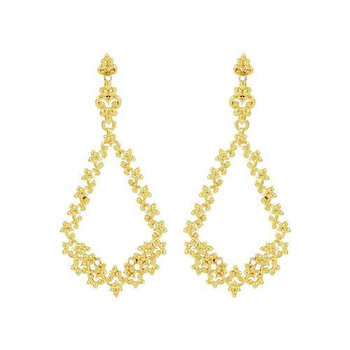Brinco em Ouro 18K Pendurado com Flores e Diamantes - AU3844