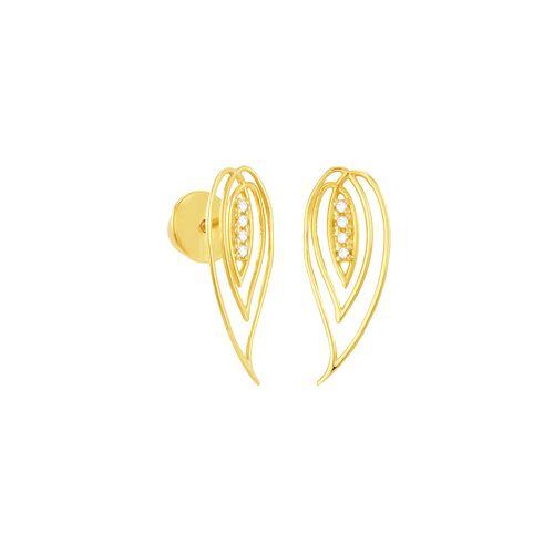 Brinco em Ouro 18K Pétala com Diamantes - AU5079