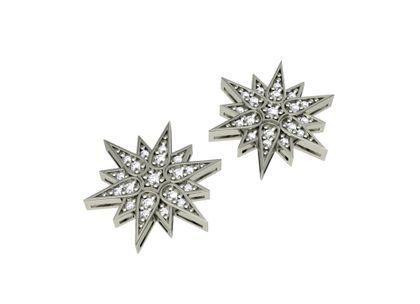 Brinco Estrelas de Diamantes Ouro Branco