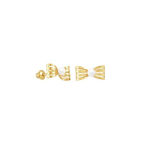 Brinco Infantil em Ouro 18K Laço e Pérola - AU3953