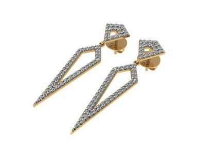 Brinco Losango com Diamantes Ouro Amarelo