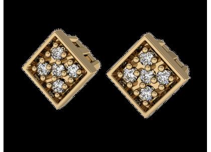 Brinco Losangos de Diamantes Ouro Amarelo