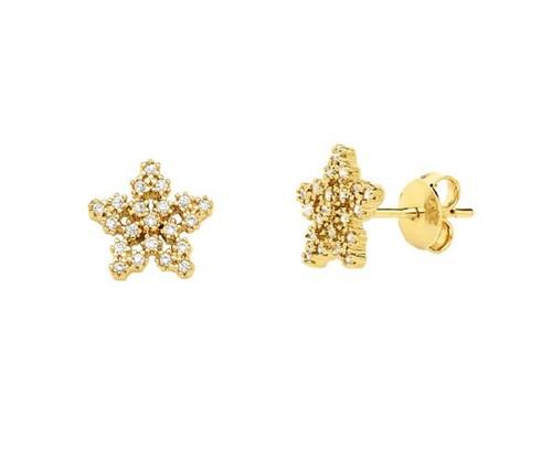 Brinco Mini Estrela Cravejado Cristais Banhado a Ouro 18k