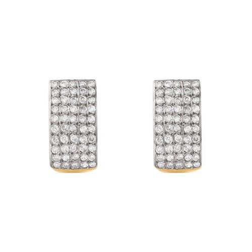 Brinco Ouro 18k 750 Argola com Diamantes