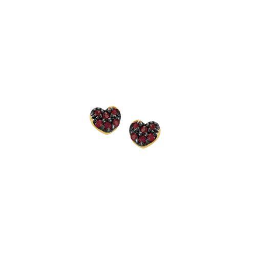 Brinco Ouro 18K Coração com Rubis - AU2441