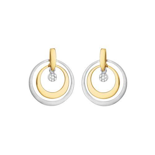 Brinco Ouro 18K Dois Tons com Diamantes - AU1873