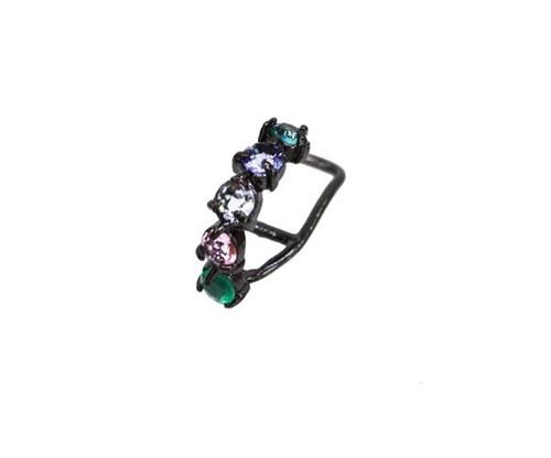 Brinco Piercing Multi Pedras Lapidadas Coloridas Zircônias Banhado a Ródio Negro