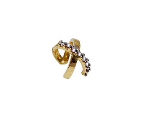 Brinco Piercing X Cravejado Cristais Banhado a Ouro 18k