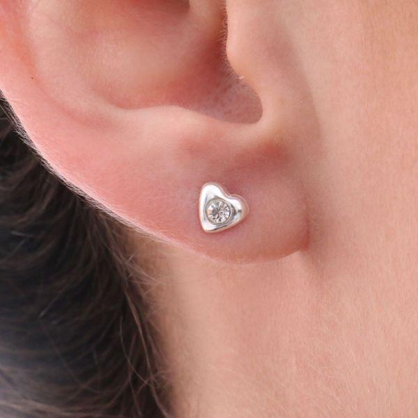 Brinco Prata 925 Coração com Zircônia Cristal