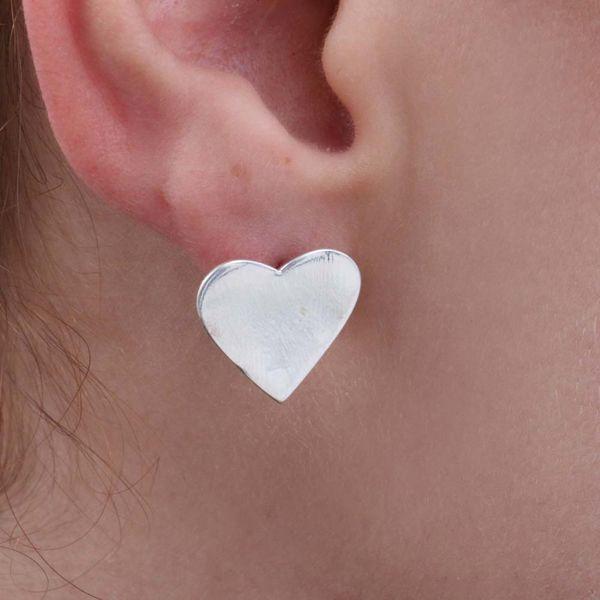 Brinco Prata 925 Coração Grande