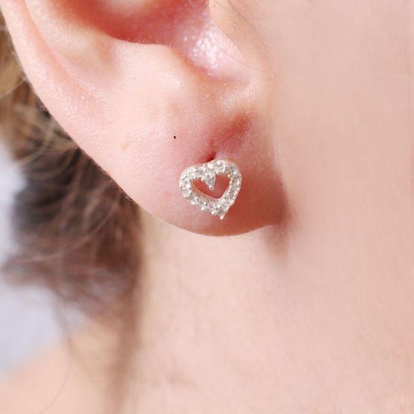 Brinco Prata 925 Coração Vazado Cristal