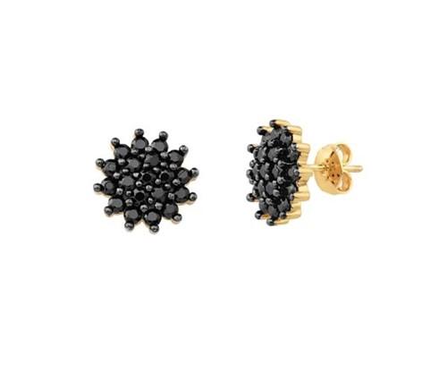 Brinco Spark Flor Cravejada Cristal Zircônia Negra Banhado a Ouro 18k