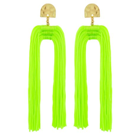 Brinco Tassel Duplo Verde Neon