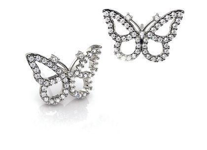 Brincos Butterfly Ouro Branco e Diamantes