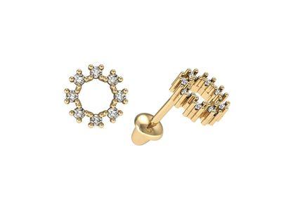Brincos Círculo de Diamantes Ouro Amarelo
