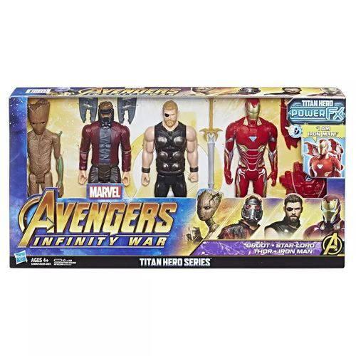 Brinquedo Pack com 4 Avengers Figura Titan Hasbro E2909