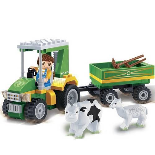Brinquedo para Montar Eco Faz.Trator C/Carreta 115Pc Banbao