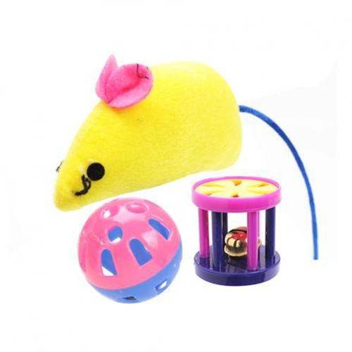 Brinquedo Ratinho, Bolinha e Sininho Cores Variadas
