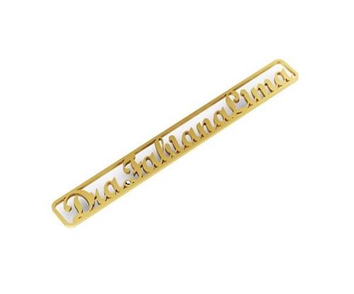 Broche Personalizado com Nome e Cristal Zircônia Banhado a Ouro 18k
