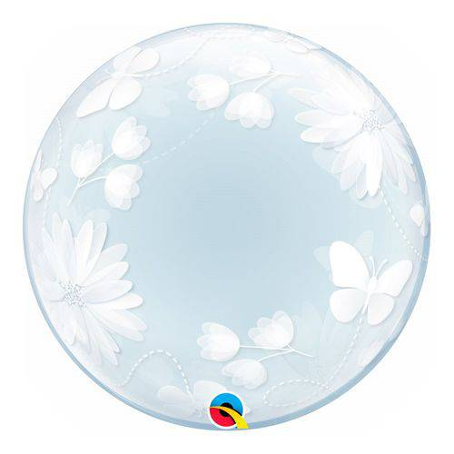 Bubble Decorativo 20 Polegadas - Borboletas e Flores - Qualatex
