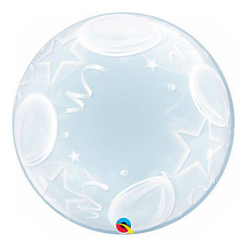 Bubble Decorativo 24 Polegadas - Balões e Estrelas - Qualatex