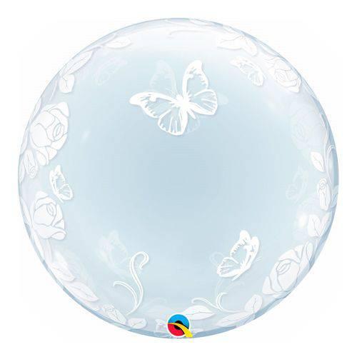 Bubble Decorativo 24 Polegadas - Elegante Rosas e Borboletas - Qualatex