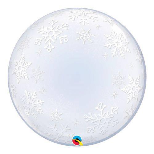 Bubble Decorativo 24 Polegadas - Flocos de Neve - Qualatex