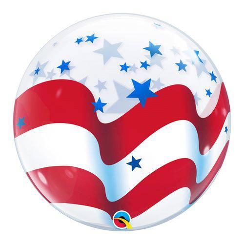 Bubble 22 Polegadas - Listras e Estrelas - Qualatex