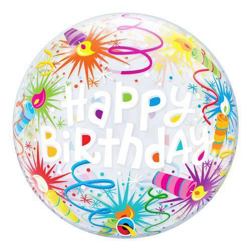 Bubble 22 Polegadas - Velas Acesas de Aniversário - Qualatex
