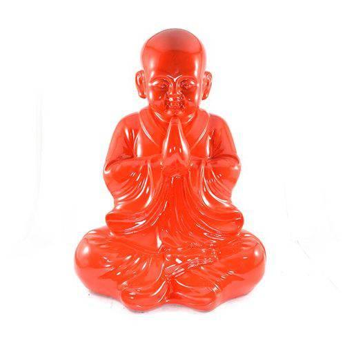 Buda Chinês Grande Vermelho Intenso Estátua.