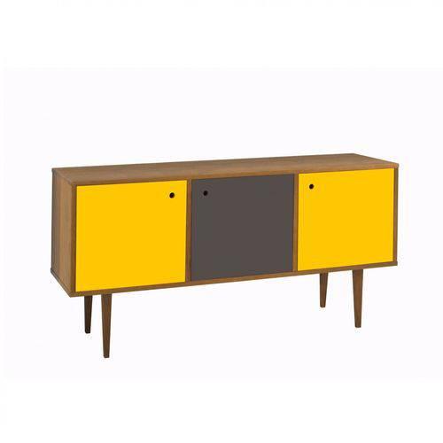 Buffet 3 Portas Vintage Maxima Nogal/amarelo/grafite/amarelo