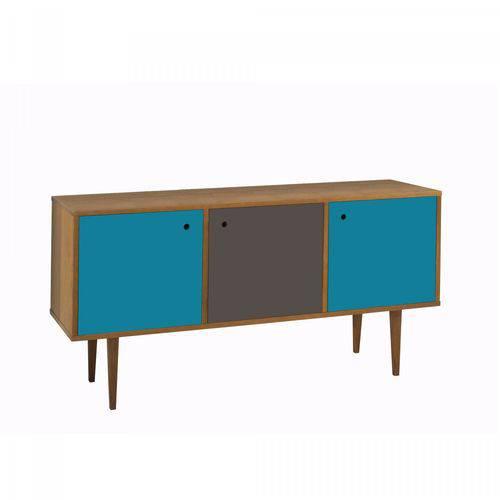 Buffet 3 Portas Vintage Maxima Nogal/azul/grafite/azul