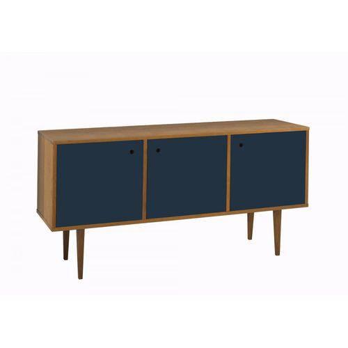 Buffet 3 Portas Vintage Maxima Nogal/azul Noite