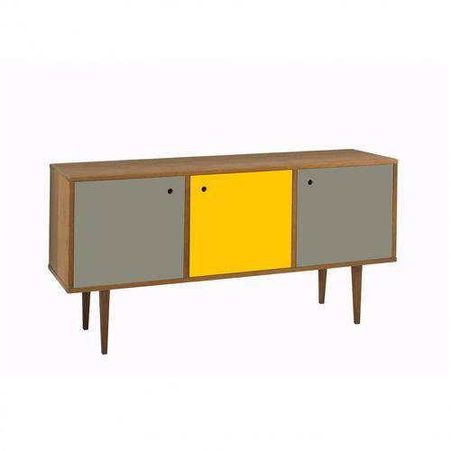 Buffet 3 Portas Vintage Maxima Nogal/cinza/amarelo/cinza