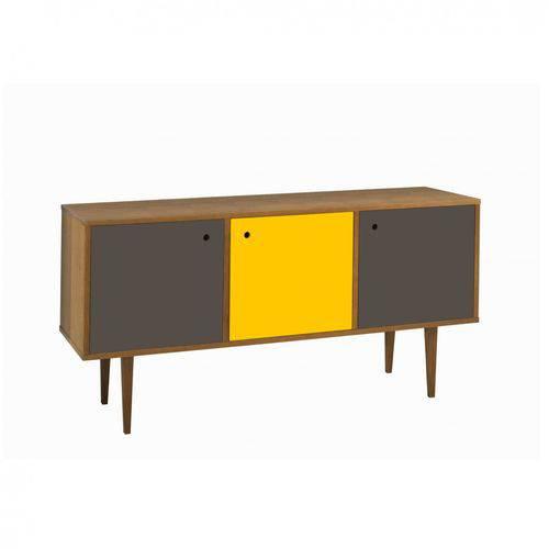 Buffet 3 Portas Vintage Maxima Nogal/grafite/amarelo/grafite