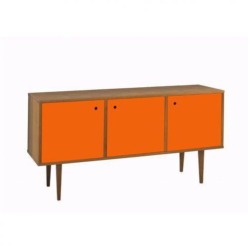 Buffet 3 Portas Vintage Maxima Nogal/laranja Novo