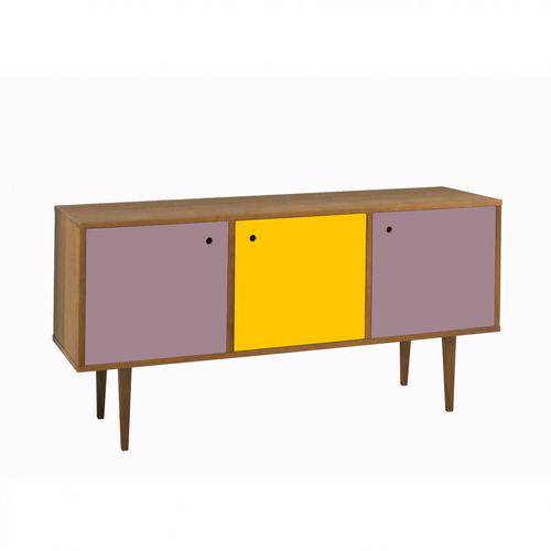 Buffet 3 Portas Vintage Maxima Nogal/lilás/amarelo/lilás